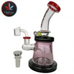 Cheech Glass – 8IN Shower Head Color Rim Water Trap Banger Hanger Water Pipe – with 14M Bowl & 4mm Banger